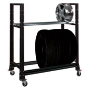 "2 Tier Tire Cart- 54-3/4""W x 25-5/8""D x 62""H-Gloss Black"