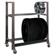 "2 Tier Tire Cart- 54-3/4""W x 25-5/8""D x 62""H-Pewter Gray"