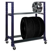 "2 Tier Tire Cart- 54-3/4""W x 25-5/8""D x 62""H-St.Louis , Blue"