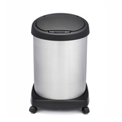Shop-Can® 12 Gallon Stainless Steel Waste Container with Casters & Spring Lid - 11364-00