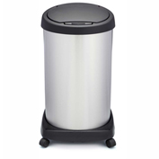 Shop-Can® 14 Gallon Stainless Steel Waste Container with Casters & Spring Lid - 11379-00
