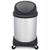 Shop-Can® 16 Gallon Stainless Steel Waste Container with Casters & Flipper Lid - 11395-00