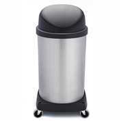 Shop-Can® 20 Gallon Stainless Steel Waste Container with Casters & Flipper Lid - 11410-00
