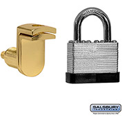 Salsbury Key Padlock with Door Gold Finish Hasp 11125 - for Solid Oak Executive Wood Locker Door