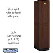 Salsbury Solid Oak Executive Wood Locker 11161 - Single Tier 1 Wide, 16x21x72, 1 Door, Dark Oak