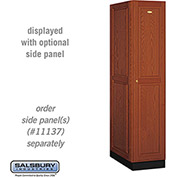 Salsbury Solid Oak Executive Wood Locker 11164 - Single Tier 1 Wide, 16x24x72, 1 Door, Medium Oak