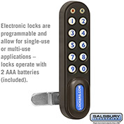 Salsbury Electronic Lock 11190 - for Solid Oak Executive Wood Locker Door, Black