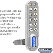 Salsbury Electronic Lock 11190 - for Solid Oak Executive Wood Locker Door, Silver
