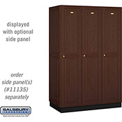 Salsbury Solid Oak Executive Wood Locker 11361 - Single Tier 3 Wide, 16x21x72, 3 Door, Dark Oak