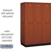 Salsbury Solid Oak Executive Wood Locker 11361 - Single Tier 3 Wide, 16x21x72, 3 Door, Medium Oak