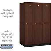 Salsbury Solid Oak Executive Wood Locker 11364 - Single Tier 3 Wide, 16x24x72, 3 Door, Dark Oak
