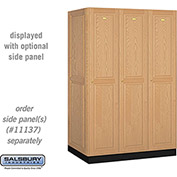 Salsbury Solid Oak Executive Wood Locker 11364 - Single Tier 3 Wide, 16x24x72, 3 Door, Light Oak