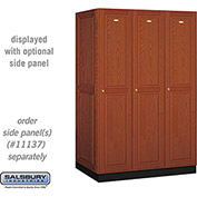 Salsbury Solid Oak Executive Wood Locker 11364 - Single Tier 3 Wide, 16x24x72, 3 Door, Medium Oak