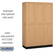 Salsbury Solid Oak Executive Wood Locker 11368 - Single Tier 3 Wide, 16x18x72, 3 Door, Light Oak