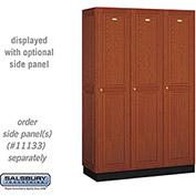 Salsbury Solid Oak Executive Wood Locker 11368 - Single Tier 3 Wide, 16x18x72, 3 Door, Medium Oak