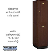 Salsbury Solid Oak Executive Wood Locker 12161 - Double Tier 1 Wide, 16x21x36, 2 Door, Dark Oak