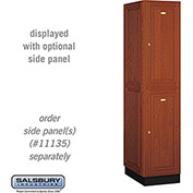 Salsbury Solid Oak Executive Wood Locker 12161 - Double Tier 1 Wide, 16x21x36, 2 Door, Medium Oak