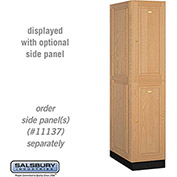 Salsbury Solid Oak Executive Wood Locker 12164 - Double Tier 1 Wide, 16x24x36, 2 Door, Light Oak
