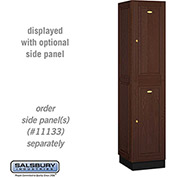 Salsbury Solid Oak Executive Wood Locker 12168 - Double Tier 1 Wide, 16x18x36, 2 Door, Dark Oak
