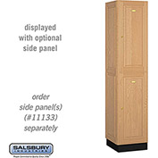 Salsbury Solid Oak Executive Wood Locker 12168 - Double Tier 1 Wide, 16x18x36, 2 Door, Light Oak