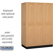 Salsbury Solid Oak Executive Wood Locker 12361 - Double Tier 3 Wide, 16x21x36, 6 Door, Light Oak