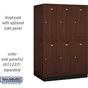 Salsbury Solid Oak Executive Wood Locker 12364 - Double Tier 3 Wide, 16x24x36, 6 Door, Dark Oak