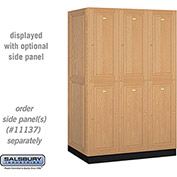 Salsbury Solid Oak Executive Wood Locker 12364 - Double Tier 3 Wide, 16x24x36, 6 Door, Light Oak