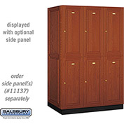 Salsbury Solid Oak Executive Wood Locker 12364 - Double Tier 3 Wide, 16x24x36, 6 Door, Medium Oak