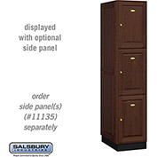 Salsbury Solid Oak Executive Wood Locker 13161 - Triple Tier 1 Wide, 16x21x24, 3 Door, Dark Oak