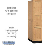 Salsbury Solid Oak Executive Wood Locker 13164 - Triple Tier 1 Wide, 16x24x24, 3 Door, Light Oak