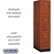 Salsbury Solid Oak Executive Wood Locker 13164 - Triple Tier 1 Wide, 16x24x24, 3 Door, Medium Oak