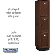 Salsbury Solid Oak Executive Wood Locker 13168 - Triple Tier 1 Wide, 16x18x24, 3 Door, Dark Oak