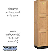 Salsbury Solid Oak Executive Wood Locker 13168 - Triple Tier 1 Wide, 16x18x24, 3 Door, Light Oak