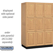Salsbury Solid Oak Executive Wood Locker 13361 - Triple Tier 3 Wide, 16x21x24, 9 Door, Light Oak