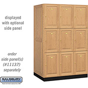 Salsbury Solid Oak Executive Wood Locker 13364 - Triple Tier 3 Wide, 16x24x24, 9 Door, Light Oak