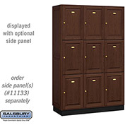 Salsbury Solid Oak Executive Wood Locker 13368 - Triple Tier 3 Wide, 16x18x24, 9 Door, Dark Oak