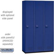 "Salsbury Extra Wide Heavy Duty Plastic Locker 15-41368 - Single Tier 3 Wide 15""W x 18""D x 72""H Blue"
