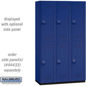 "Salsbury Extra Wide Heavy Duty Plastic Locker 15-42368 - Double Tier 3 Wide 15""W x 18""D x 36""H Blue"