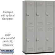 "Salsbury Extra Wide Heavy Duty Plastic Locker 15-42368 - Double Tier 3 Wide 15""W x 18""D x 36""H Gray"