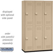 "Salsbury Extra Wide Heavy Duty Plastic Locker 15-42368 - Double Tier 3 Wide 15""W x 18""D x 36""H Tan"