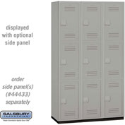 "Salsbury Extra Wide Heavy Duty Plastic Locker 15-43368 - Triple Tier 3 Wide 15""W x 18""D x 24""H Gray"