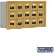 "Cell Phone Storage Locker, Recessed Mounted, 3 Door High, 5""D, Combo Locks, 15 A Doors, Gold"
