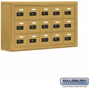 "Cell Phone Storage Locker, Surface Mounted, 3 Door High, 5""D, Combo Locks, 15 A Doors, Gold"