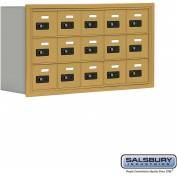 "Cell Phone Storage Locker, Recessed Mounted, 3 Door High, 8""D, Combo Locks, 15 A Doors, Gold"