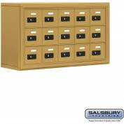 "Cell Phone Storage Locker, Surface Mounted, 3 Door High, 8""D, Combo Locks, 15 A Doors, Gold"