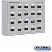 "Cell Phone Storage Locker, Surface Mounted, 4 Door High, 5""D, Combo Locks, 20 A Doors, Aluminum"