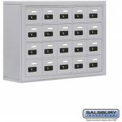 "Cell Phone Storage Locker, Surface Mounted, 4 Door High, 8""D, Combo Locks, 20 A Doors, Aluminum"