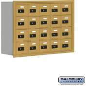 "Cell Phone Storage Locker, Recessed Mounted, 4 Door High, 8""D, Combo Locks, 20 A Doors, Gold"