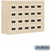 "Cell Phone Storage Locker, Surface Mounted, 4 Door High, 8""D, Combo Locks, 20 A Doors, Sandstone"