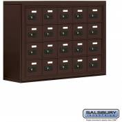 "Cell Phone Storage Locker, Surface Mounted, 4 Door High, 8""D, Combo Locks, 20 A Doors, Bronze"